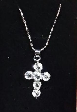 Rhodium Plated Pendant Cross Necklace