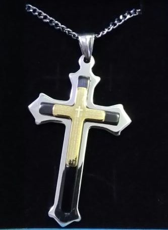 STAINLESS STEEL LORD'S PRAYER CROSS PENDANT