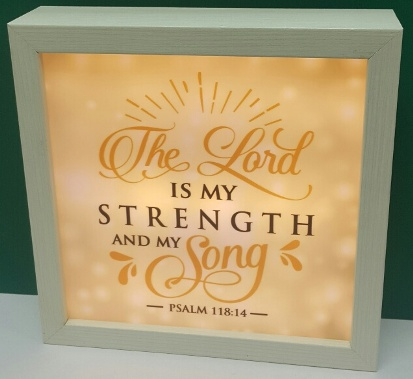 MDF Square Lightbox THE LORD IS MY STRENGTH
