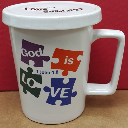 Ceramic mug with cover GOD IS LOVE