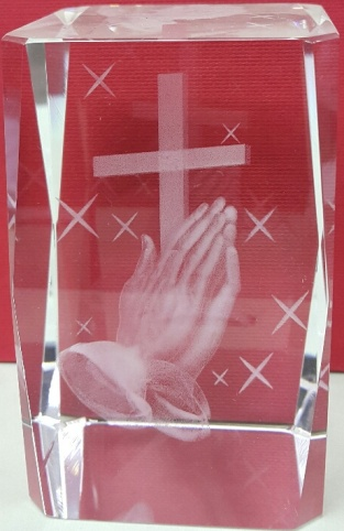 Prayer hands with cross in centre