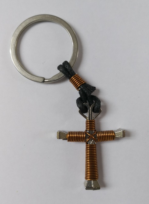 Nail Cross Keychain Brown